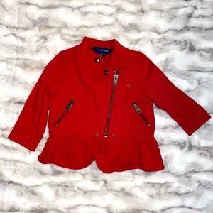 Ralph Lauren full zip ruffle jacket red 12 mo girl
